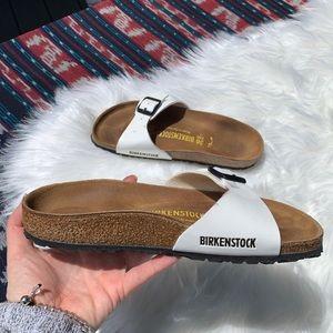 Birkenstock white patent sandals birks